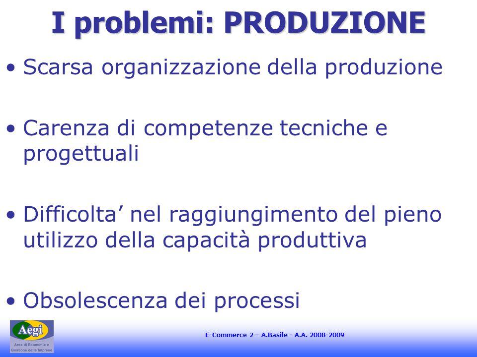 E-Commerce 2 – A.Basile - A.A. 2008-2009 I problemi: PRODUZIONE Scarsa organizzazione della produzione Carenza di competenze tecniche e progettuali Di