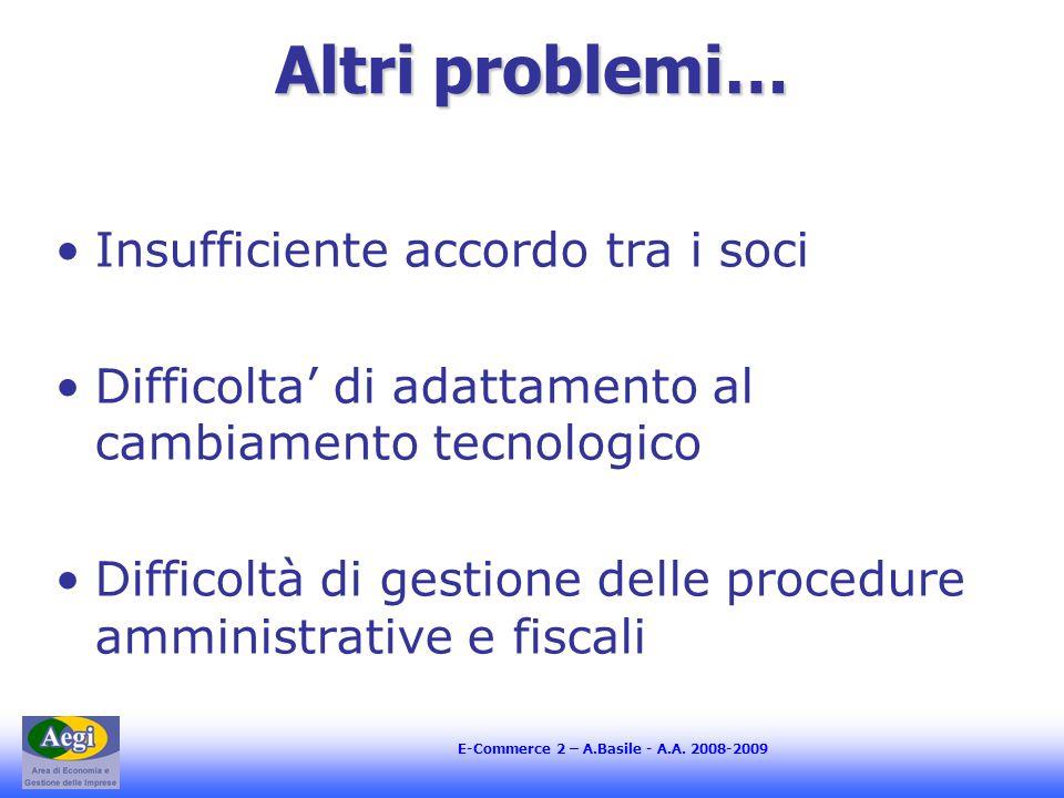 E-Commerce 2 – A.Basile - A.A. 2008-2009 Altri problemi… Insufficiente accordo tra i soci Difficolta' di adattamento al cambiamento tecnologico Diffic