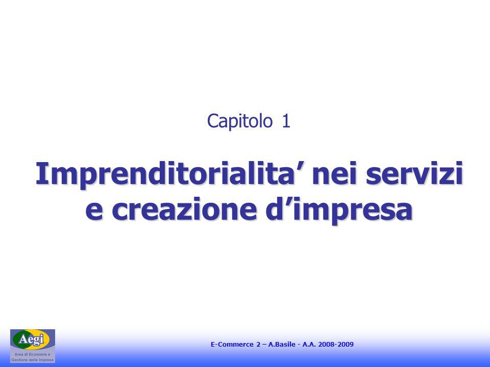 E-Commerce 2 – A.Basile - A.A. 2008-2009 Imprenditorialita' nei servizi e creazione d'impresa Capitolo 1 Imprenditorialita' nei servizi e creazione d'