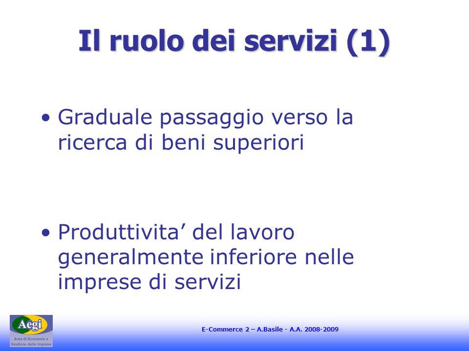 E-Commerce 2 – A.Basile - A.A. 2008-2009 Il ruolo dei servizi (1) Graduale passaggio verso la ricerca di beni superiori Produttivita' del lavoro gener