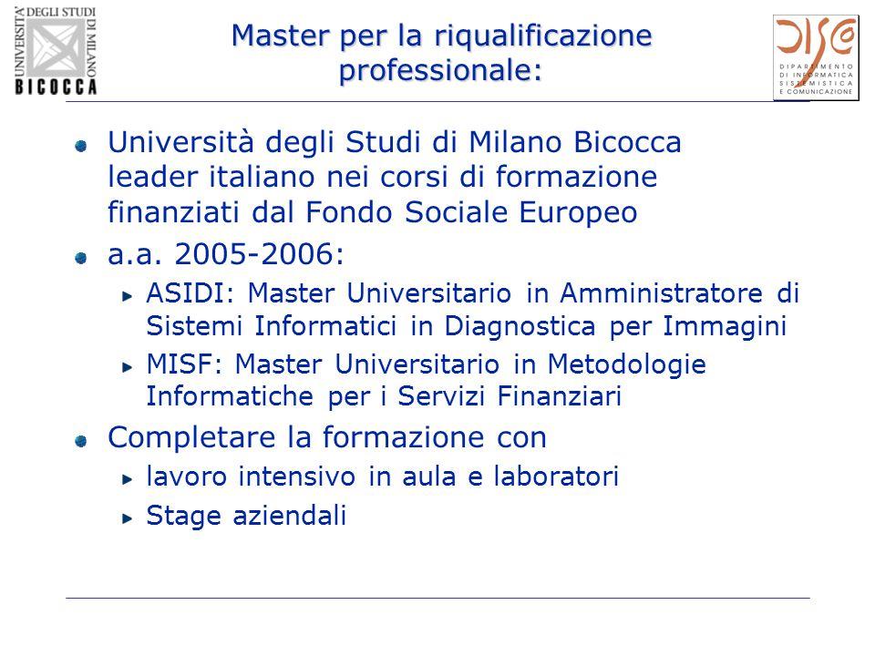 Master per la riqualificazione professionale: Università degli Studi di Milano Bicocca leader italiano nei corsi di formazione finanziati dal Fondo So