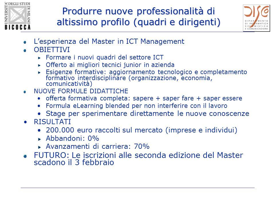 Produrre nuove professionalità di altissimo profilo (quadri e dirigenti) L'esperienza del Master in ICT Management OBIETTIVI Formare i nuovi quadri de