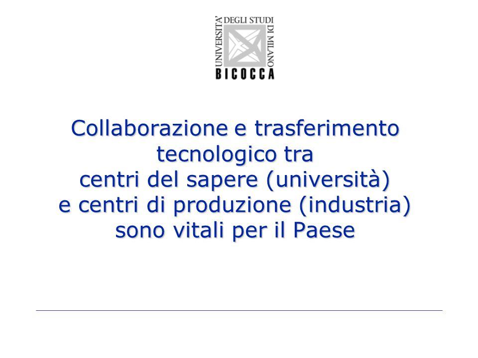 Collaborazione e trasferimento tecnologico tra centri del sapere (università) e centri di produzione (industria) sono vitali per il Paese
