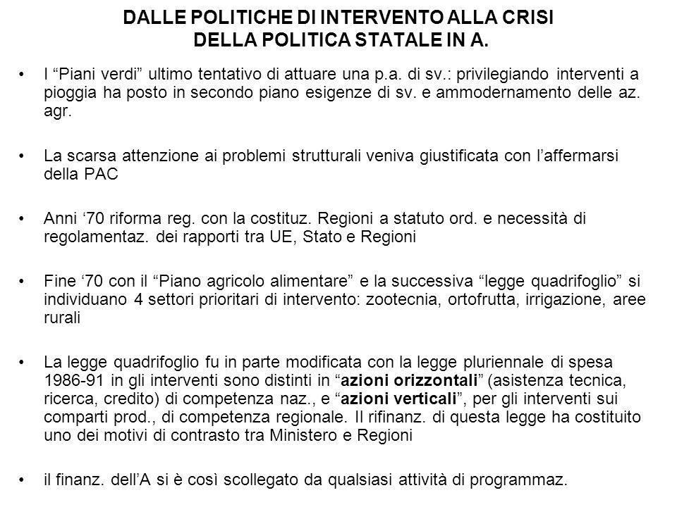 DALLE POLITICHE DI INTERVENTO ALLA CRISI DELLA POLITICA STATALE IN A.