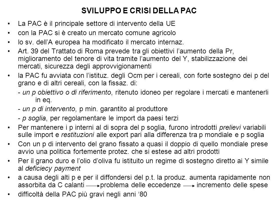 SVILUPPO E CRISI DELLA PAC La PAC è il principale settore di intervento della UE con la PAC si è creato un mercato comune agricolo lo sv.