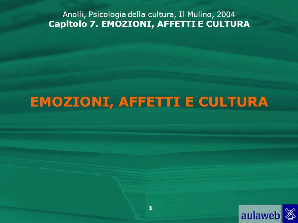 1 EMOZIONI, AFFETTI E CULTURA Anolli, Psicologia della cultura, Il Mulino, 2004 Capitolo 7.