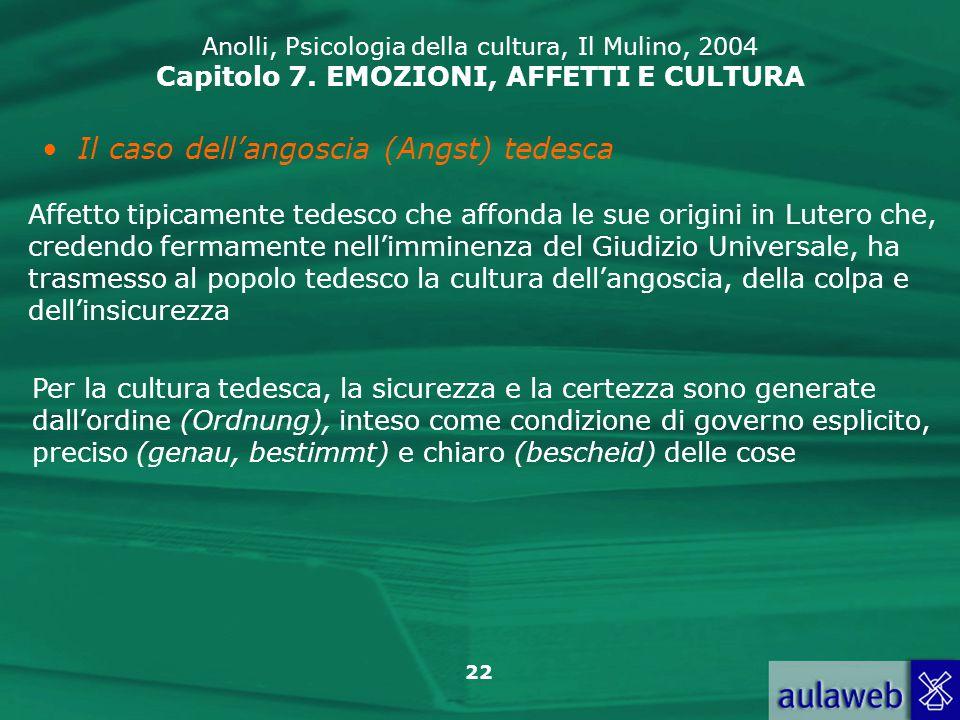 22 Anolli, Psicologia della cultura, Il Mulino, 2004 Capitolo 7.