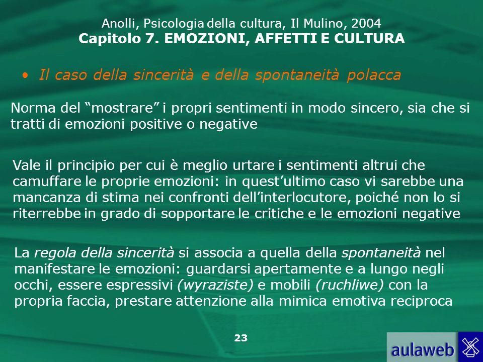 23 Anolli, Psicologia della cultura, Il Mulino, 2004 Capitolo 7.