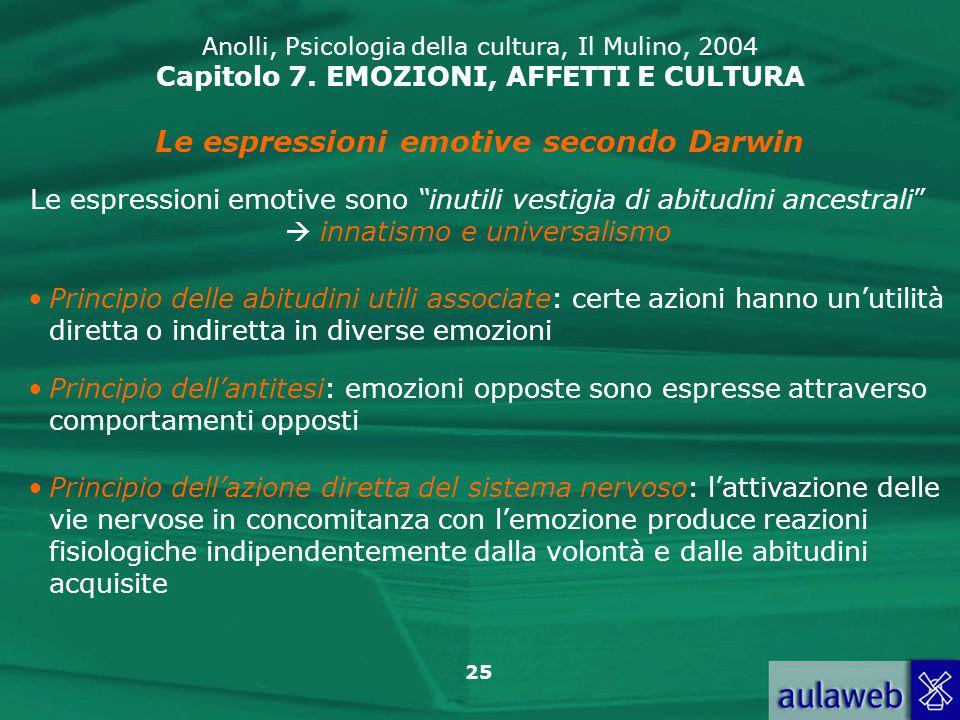 25 Anolli, Psicologia della cultura, Il Mulino, 2004 Capitolo 7.