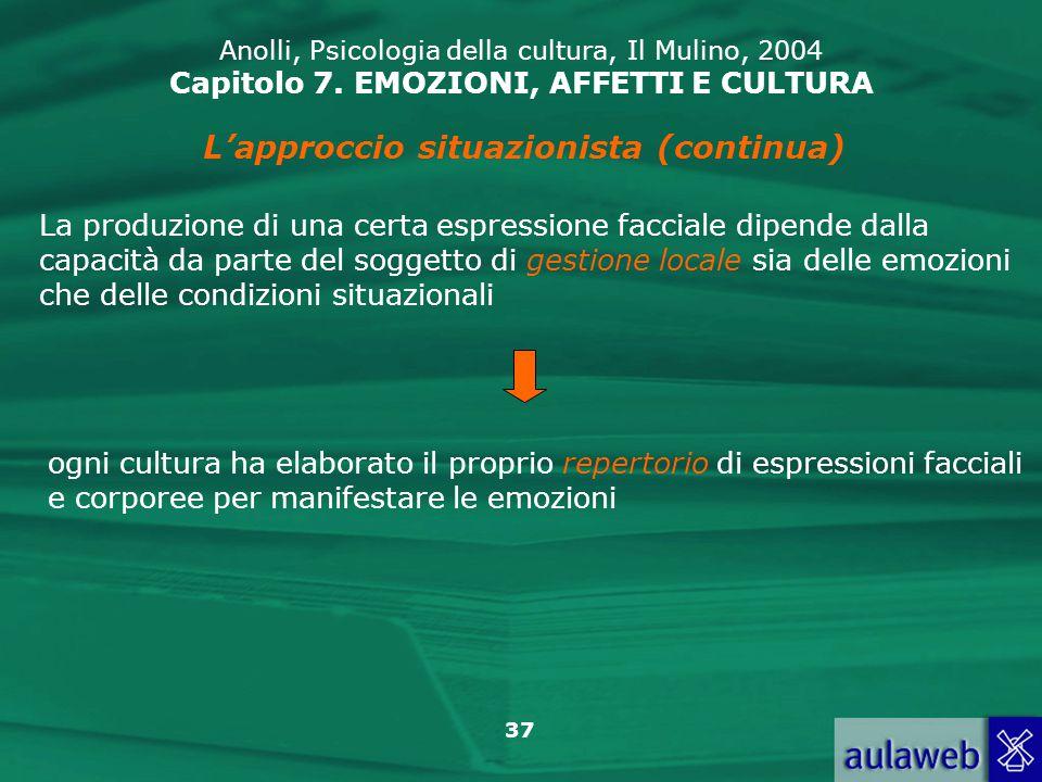 37 Anolli, Psicologia della cultura, Il Mulino, 2004 Capitolo 7.
