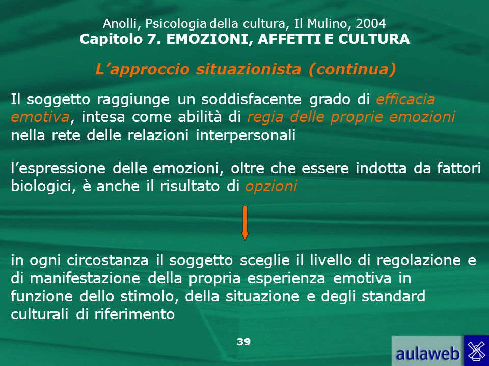 39 Anolli, Psicologia della cultura, Il Mulino, 2004 Capitolo 7.