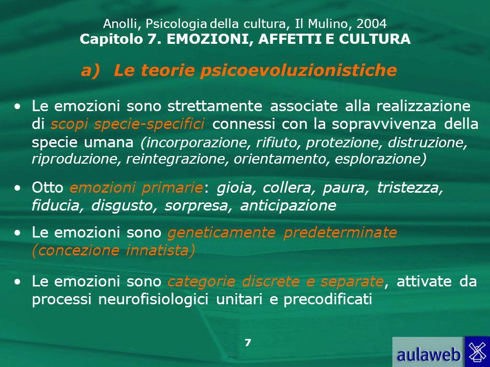 38 Anolli, Psicologia della cultura, Il Mulino, 2004 Capitolo 7.