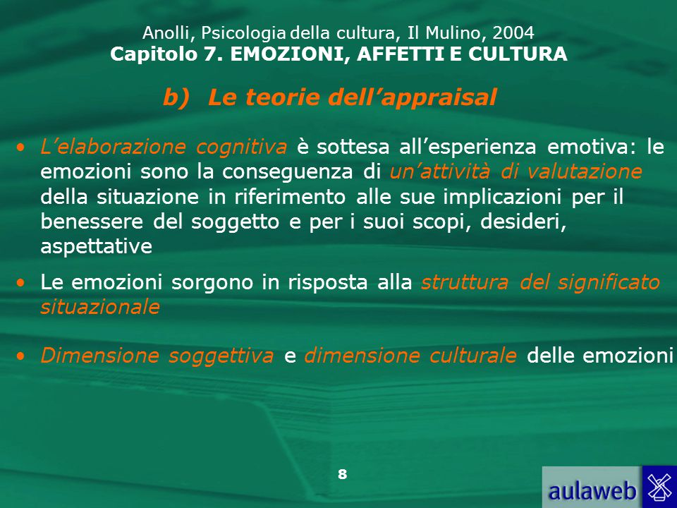 9 Anolli, Psicologia della cultura, Il Mulino, 2004 Capitolo 7.