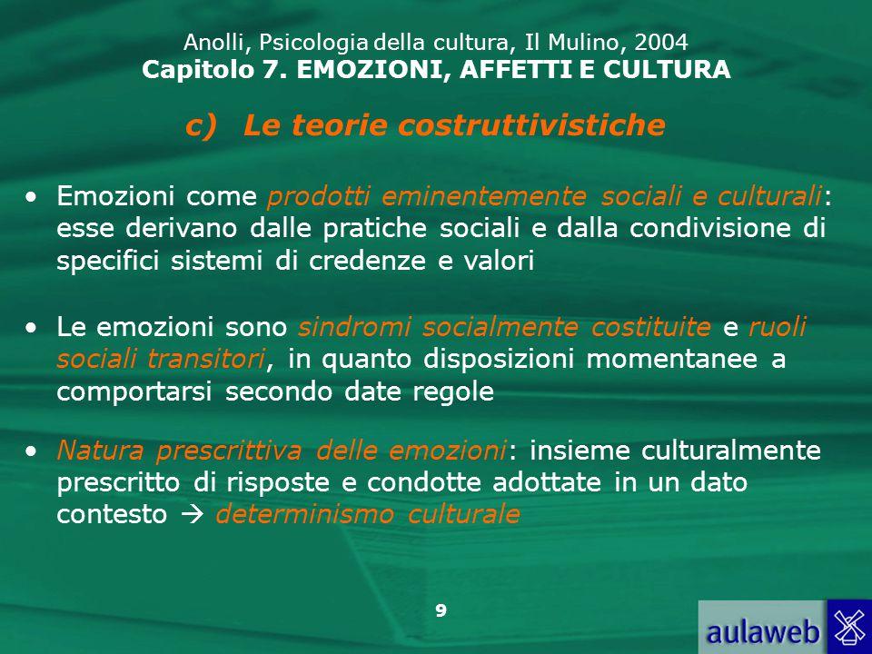 30 Anolli, Psicologia della cultura, Il Mulino, 2004 Capitolo 7.
