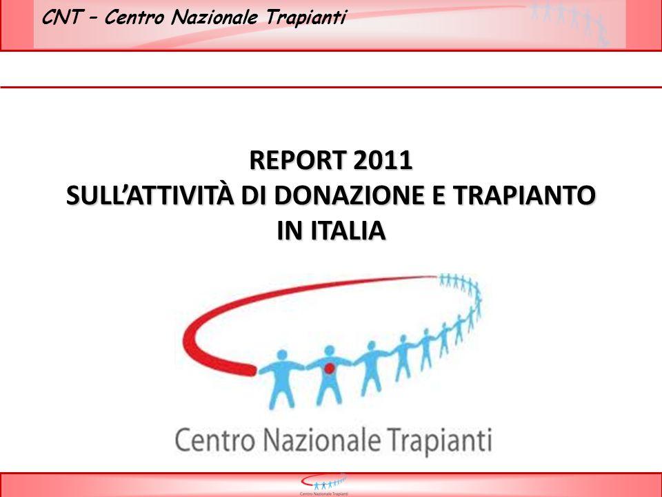 CNT – Centro Nazionale Trapianti * Previsione su dati I semestre Totale donazioni I semestre 2011: 6223 Tot donaz I semestre 2010: 5815 differenza 2010/2011 + 408 donazioni + 7 %