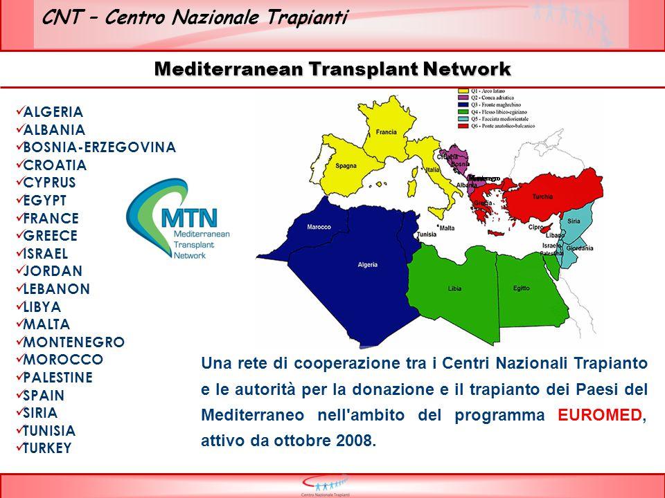 CNT – Centro Nazionale Trapianti ALGERIA ALBANIA BOSNIA-ERZEGOVINA CROATIA CYPRUS EGYPT FRANCE GREECE ISRAEL JORDAN LEBANON LIBYA MALTA MONTENEGRO MOROCCO PALESTINE SPAIN SIRIA TUNISIA TURKEY Una rete di cooperazione tra i Centri Nazionali Trapianto e le autorità per la donazione e il trapianto dei Paesi del Mediterraneo nell ambito del programma EUROMED, attivo da ottobre 2008.