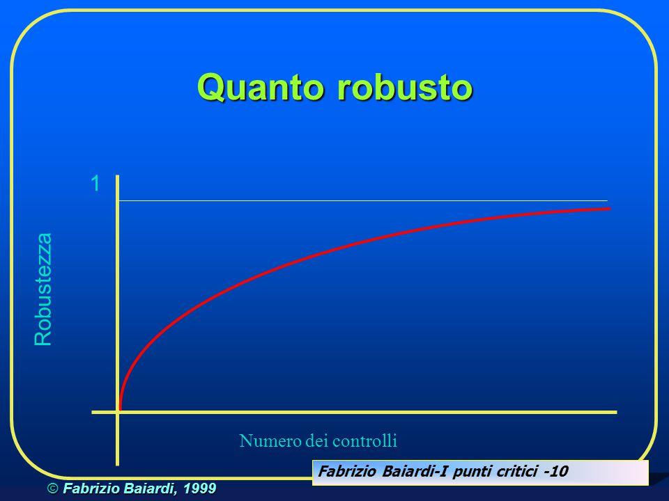 Fabrizio Baiardi-I punti critici -9 © Fabrizio Baiardi, 1999 Quanto robusto....