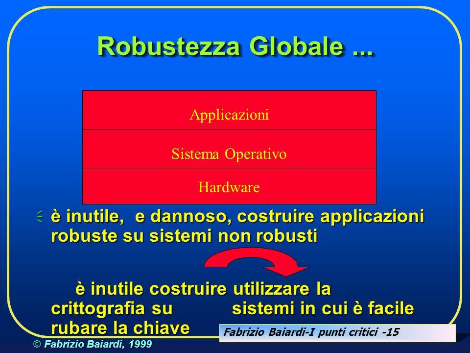 Fabrizio Baiardi-I punti critici -14 © Fabrizio Baiardi, 1999 Sistema Robusto...  la robustezza di un sistema nasce dalla robustezza dei suoi compone