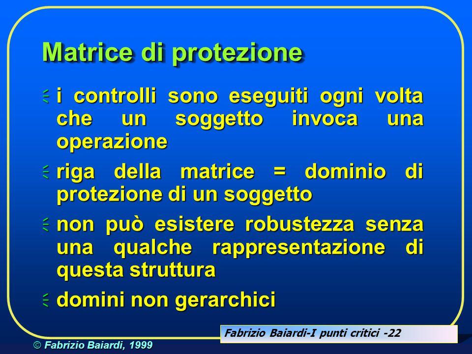 Fabrizio Baiardi-I punti critici -21 © Fabrizio Baiardi, 1999 Matrice di protezione soggetti oggetti