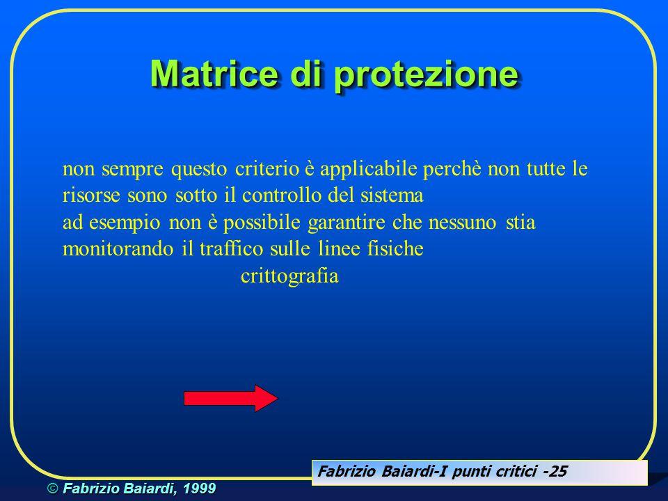 Fabrizio Baiardi-I punti critici -24 © Fabrizio Baiardi, 1999 Matrice di protezione  sorge il problema della identificazione di un soggetto  password  crittografia  uso di certificati e firma elettronica ....