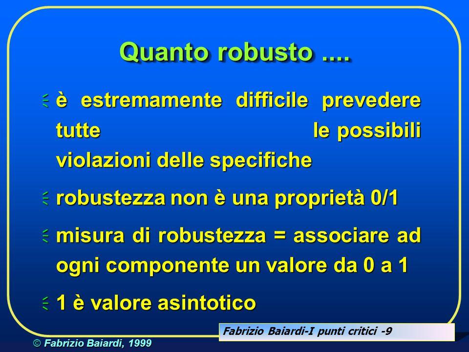 Fabrizio Baiardi-I punti critici -8 © Fabrizio Baiardi, 1999 Robusto....  nome sbagliato  nome non esistente  allocata meno memoria di quella neces
