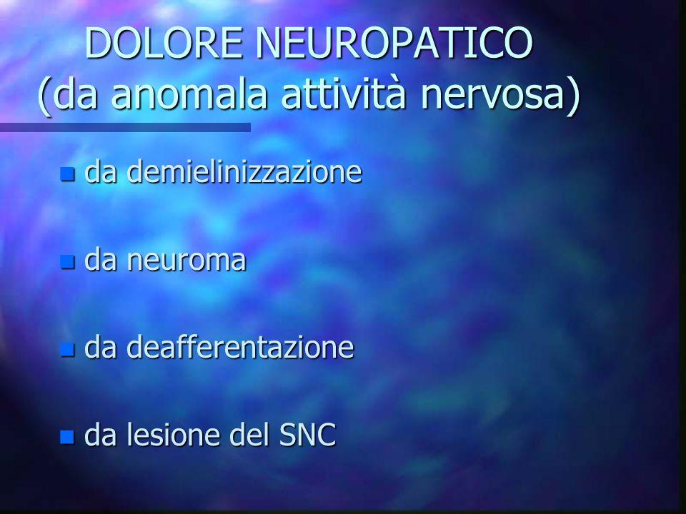 DOLORE NEUROPATICO (da anomala attività nervosa) n da demielinizzazione n da neuroma n da deafferentazione n da lesione del SNC