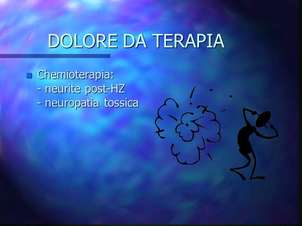 DOLORE DA TERAPIA n Chemioterapia: - neurite post-HZ - neuropatia tossica