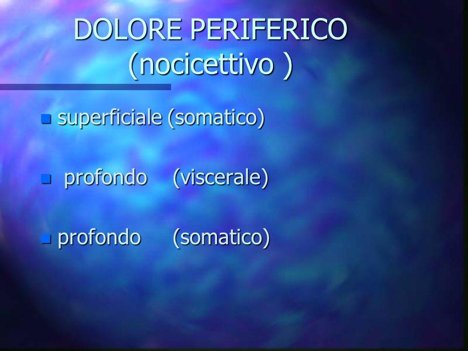 DOLORE PERIFERICO (nocicettivo ) n superficiale (somatico) n profondo (viscerale) n profondo (somatico)