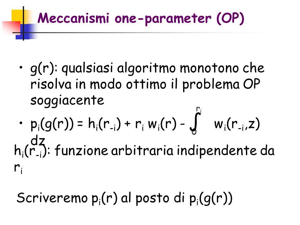 Meccanismi one-parameter (OP) g(r): qualsiasi algoritmo monotono che risolva in modo ottimo il problema OP soggiacente p i (g(r)) = h i (r -i ) + r i w i (r) - ∫ w i (r -i,z) dz 0 riri h i (r -i ): funzione arbitraria indipendente da r i Scriveremo p i (r) al posto di p i (g(r))