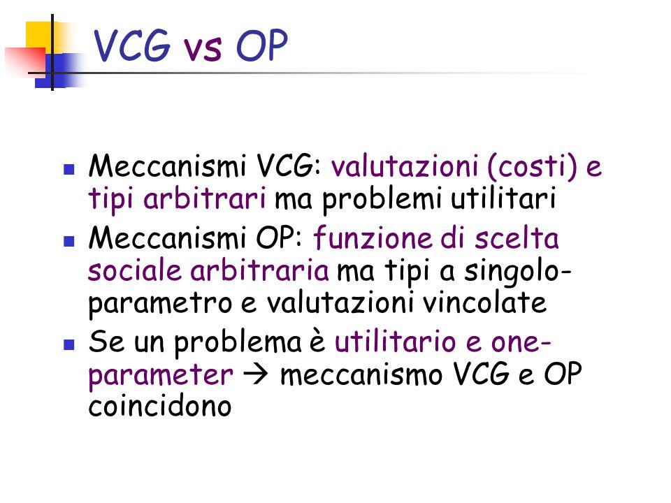 VCG vs OP Meccanismi VCG: valutazioni (costi) e tipi arbitrari ma problemi utilitari Meccanismi OP: funzione di scelta sociale arbitraria ma tipi a singolo- parametro e valutazioni vincolate Se un problema è utilitario e one- parameter  meccanismo VCG e OP coincidono