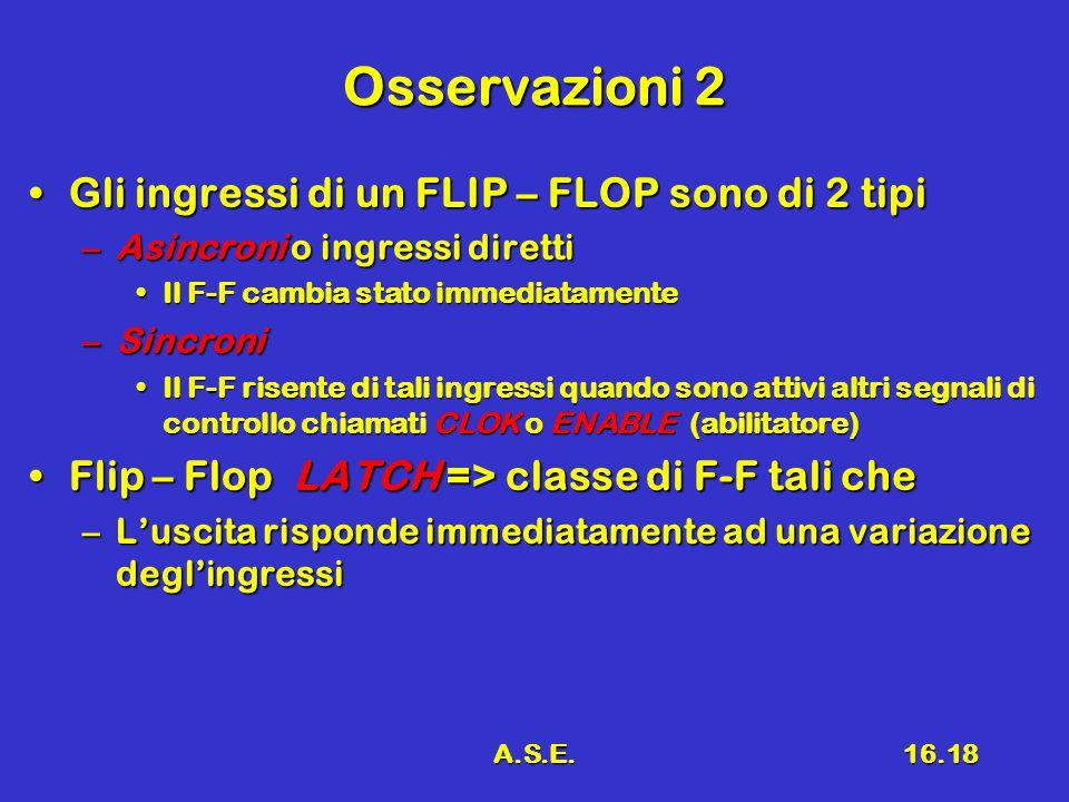 A.S.E.16.18 Osservazioni 2 Gli ingressi di un FLIP – FLOP sono di 2 tipiGli ingressi di un FLIP – FLOP sono di 2 tipi –Asincroni o ingressi diretti Il F-F cambia stato immediatamenteIl F-F cambia stato immediatamente –Sincroni Il F-F risente di tali ingressi quando sono attivi altri segnali di controllo chiamati CLOK o ENABLE (abilitatore)Il F-F risente di tali ingressi quando sono attivi altri segnali di controllo chiamati CLOK o ENABLE (abilitatore) Flip – Flop LATCH => classe di F-F tali cheFlip – Flop LATCH => classe di F-F tali che –L'uscita risponde immediatamente ad una variazione degl'ingressi