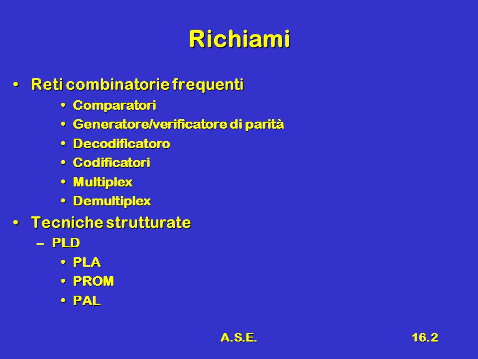 A.S.E.16.2 Richiami Reti combinatorie frequentiReti combinatorie frequenti ComparatoriComparatori Generatore/verificatore di paritàGeneratore/verificatore di parità DecodificatoroDecodificatoro CodificatoriCodificatori MultiplexMultiplex DemultiplexDemultiplex Tecniche strutturateTecniche strutturate –PLD PLAPLA PROMPROM PALPAL