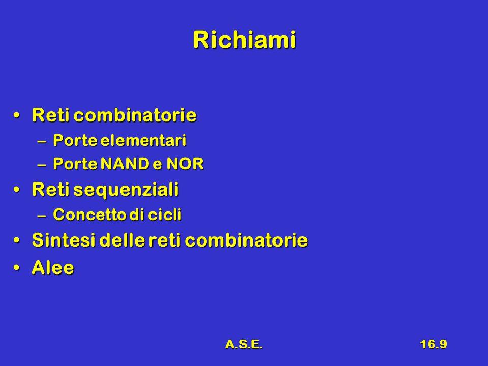A.S.E.16.9 Richiami Reti combinatorieReti combinatorie –Porte elementari –Porte NAND e NOR Reti sequenzialiReti sequenziali –Concetto di cicli Sintesi delle reti combinatorieSintesi delle reti combinatorie AleeAlee