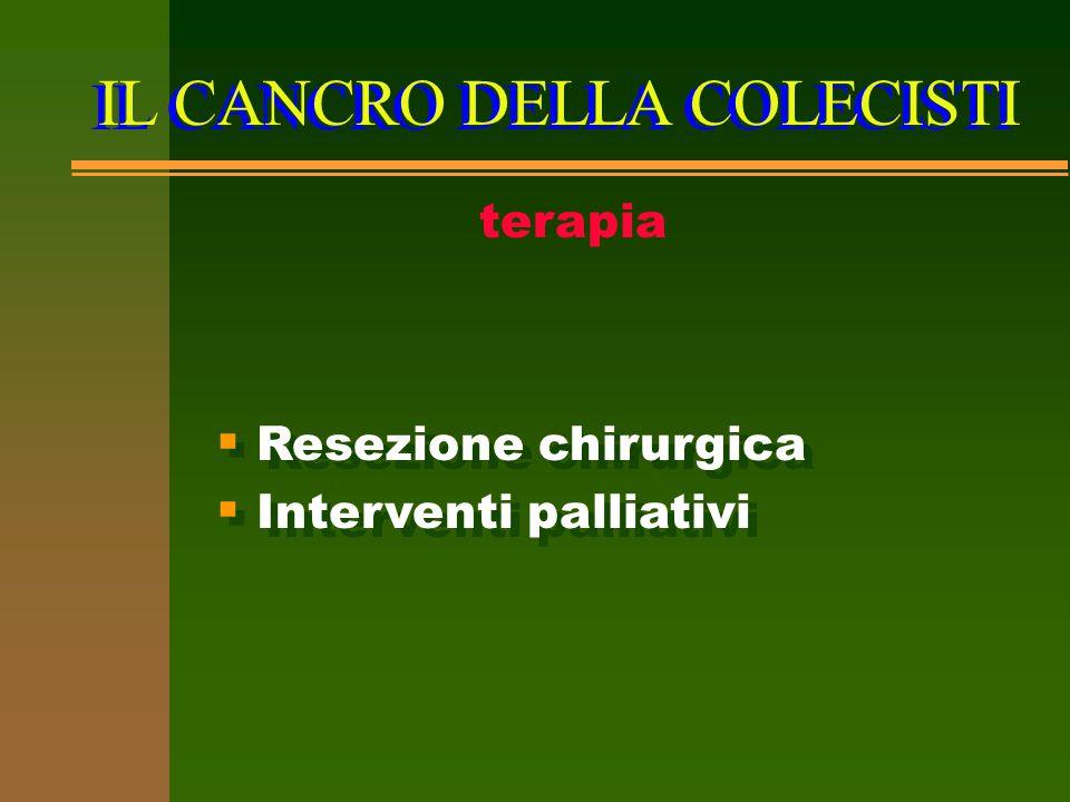 IL CANCRO DELLA COLECISTI terapia  Resezione chirurgica  Interventi palliativi  Resezione chirurgica  Interventi palliativi