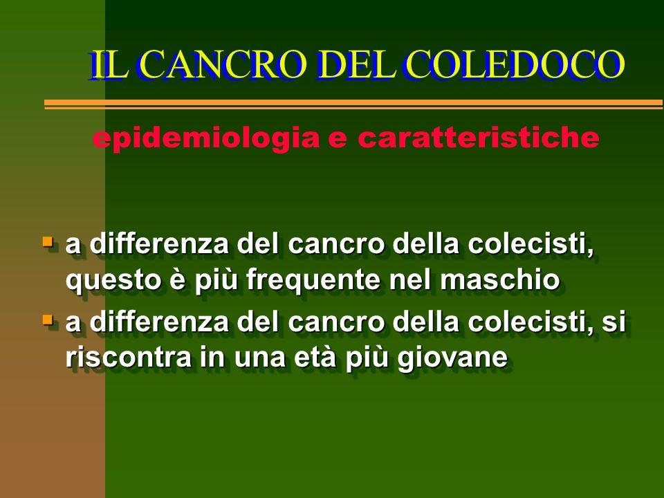 IL CANCRO DEL COLEDOCO epidemiologia e caratteristiche  a differenza del cancro della colecisti, questo è più frequente nel maschio  a differenza de