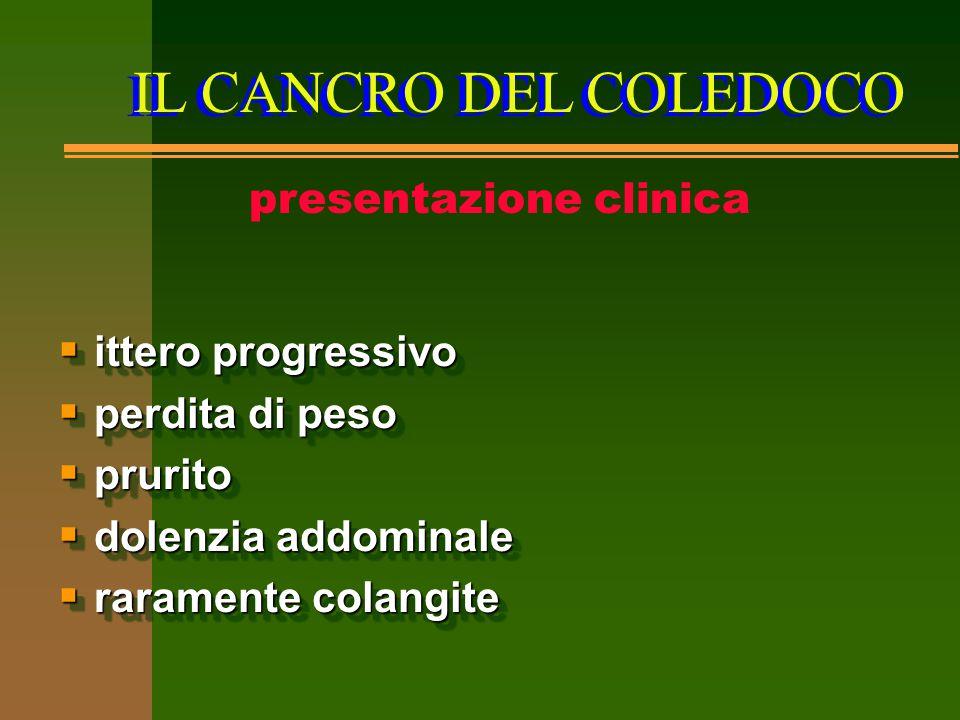 IL CANCRO DEL COLEDOCO presentazione clinica  ittero progressivo  perdita di peso  prurito  dolenzia addominale  raramente colangite  ittero pro