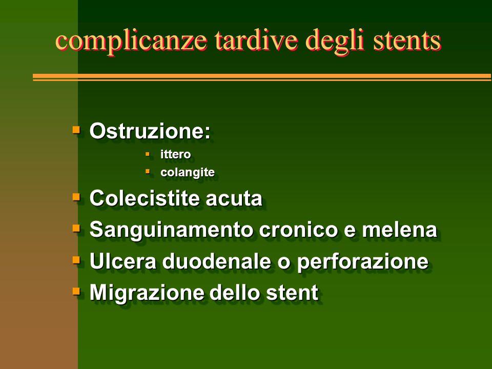 complicanze tardive degli stents  Ostruzione:  ittero  colangite  Colecistite acuta  Sanguinamento cronico e melena  Ulcera duodenale o perforaz