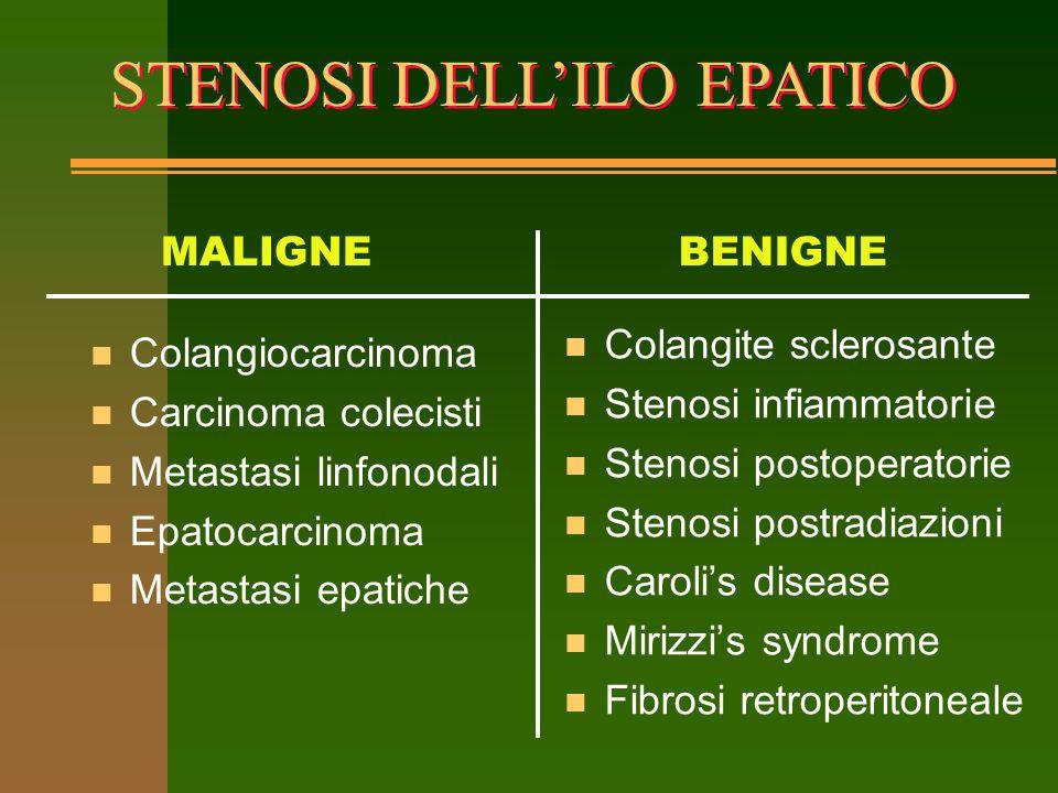 BISMUTH CLASSIFICATION OF HILAR STRICTURES BISMUTH CLASSIFICATION OF HILAR STRICTURES Tipo I stenosi del dotto epatico comune a distanza >2cm dall'ilo Tipo II stenosi del dotto epatico comune a distanza <2cm dall'ilo Tipo III stenosi dell'ilo, confluenza intatta e senza coinvolgimento del dotto epatico destro e sinistro Tipo IV coinvolgimento del dotto epatico destro e sinistro