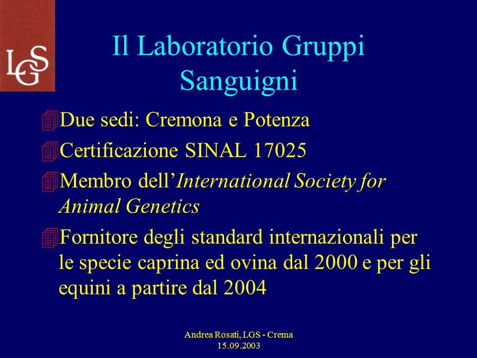 Andrea Rosati, LGS - Crema 15.09.2003 Attività Prevista 2003 per i Bovini