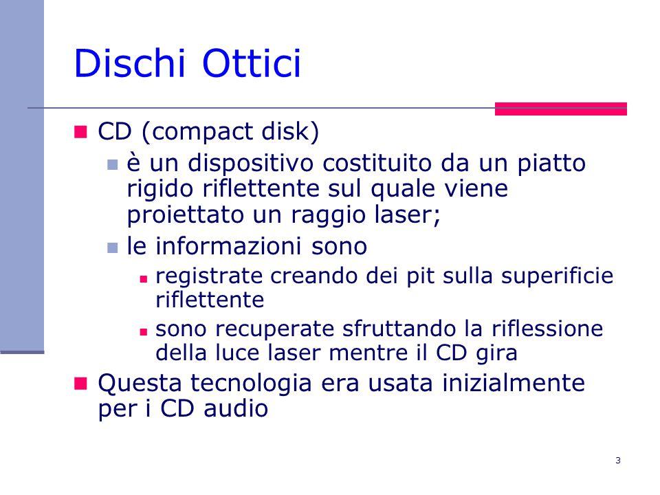 3 Dischi Ottici CD (compact disk) è un dispositivo costituito da un piatto rigido riflettente sul quale viene proiettato un raggio laser; le informazioni sono registrate creando dei pit sulla superificie riflettente sono recuperate sfruttando la riflessione della luce laser mentre il CD gira Questa tecnologia era usata inizialmente per i CD audio
