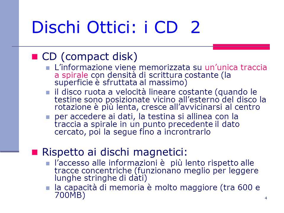 4 Dischi Ottici: i CD 2 CD (compact disk) L'informazione viene memorizzata su un'unica traccia a spirale con densità di scrittura costante (la superficie è sfruttata al massimo) il disco ruota a velocità lineare costante (quando le testine sono posizionate vicino all'esterno del disco la rotazione è più lenta, cresce all'avvicinarsi al centro per accedere ai dati, la testina si allinea con la traccia a spirale in un punto precedente il dato cercato, poi la segue fino a incrontrarlo Rispetto ai dischi magnetici: l'accesso alle informazioni è più lento rispetto alle tracce concentriche (funzionano meglio per leggere lunghe stringhe di dati) la capacità di memoria è molto maggiore (tra 600 e 700MB)
