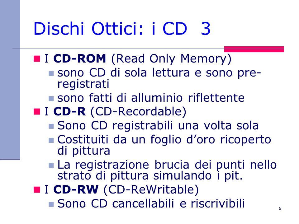 5 Dischi Ottici: i CD 3 I CD-ROM (Read Only Memory) sono CD di sola lettura e sono pre- registrati sono fatti di alluminio riflettente I CD-R (CD-Recordable) Sono CD registrabili una volta sola Costituiti da un foglio d'oro ricoperto di pittura La registrazione brucia dei punti nello strato di pittura simulando i pit.