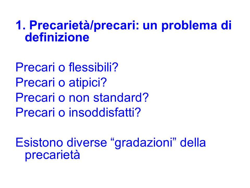 1. Precarietà/precari: un problema di definizione Precari o flessibili? Precari o atipici? Precari o non standard? Precari o insoddisfatti? Esistono d
