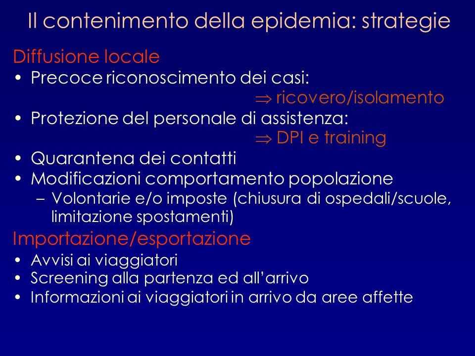 Il contenimento della epidemia: strategie Diffusione locale Precoce riconoscimento dei casi:  ricovero/isolamento Protezione del personale di assiste