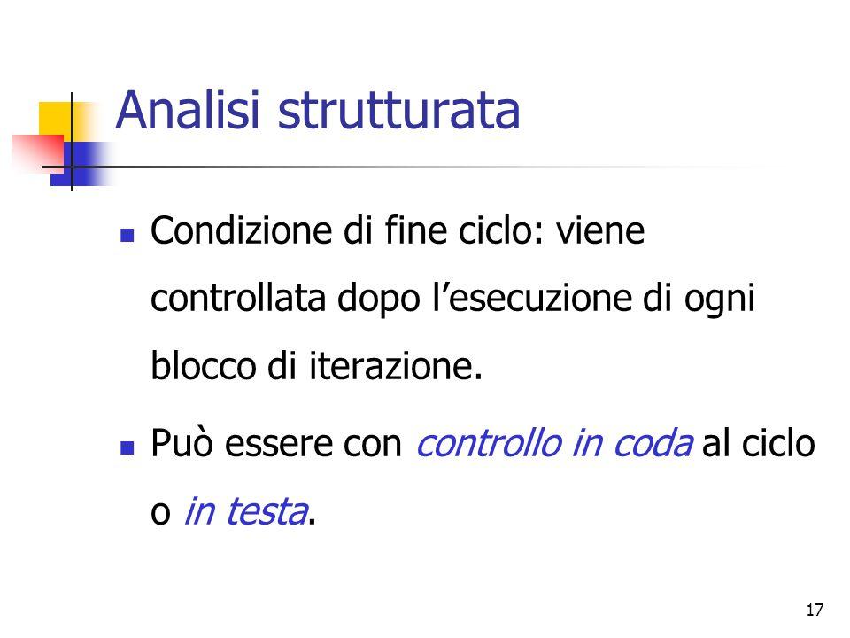 17 Analisi strutturata Condizione di fine ciclo: viene controllata dopo l'esecuzione di ogni blocco di iterazione. Può essere con controllo in coda al