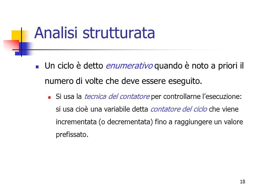 18 Analisi strutturata Un ciclo è detto enumerativo quando è noto a priori il numero di volte che deve essere eseguito. Si usa la tecnica del contator