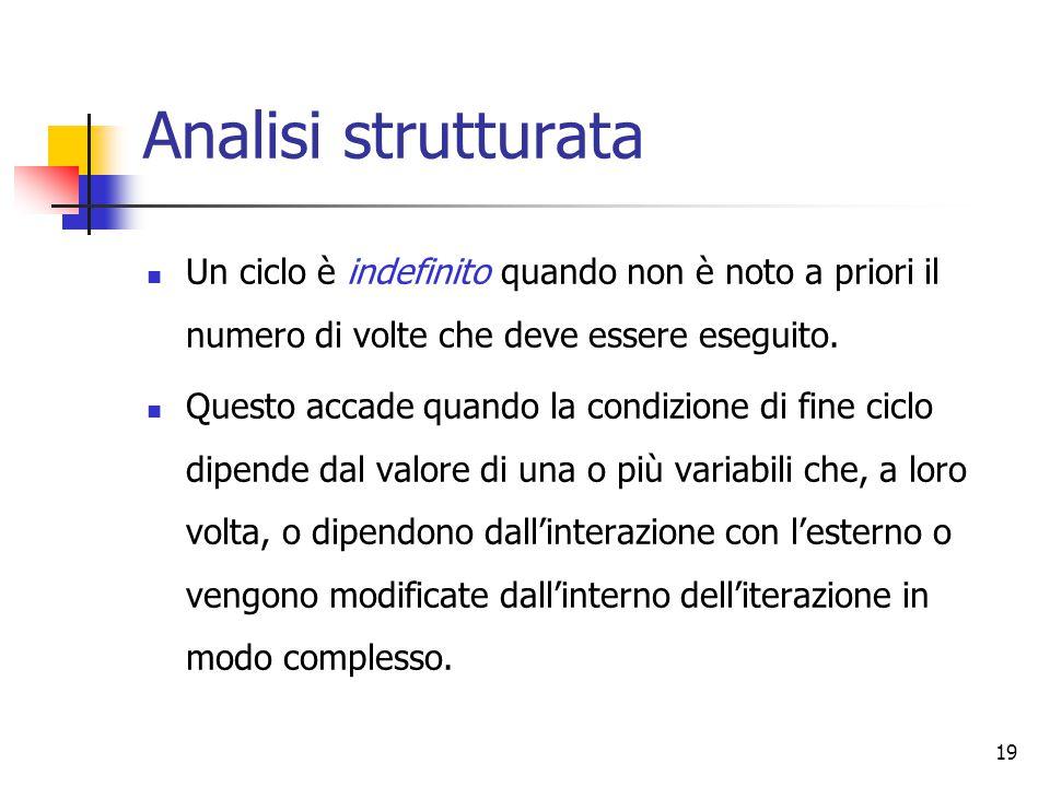 19 Analisi strutturata Un ciclo è indefinito quando non è noto a priori il numero di volte che deve essere eseguito. Questo accade quando la condizion