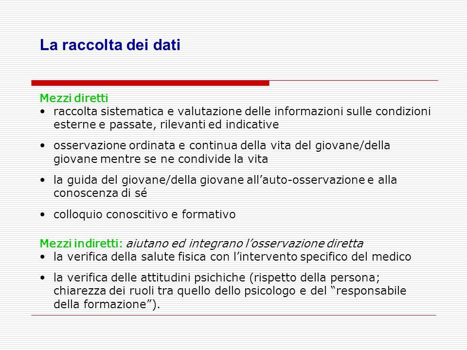 La raccolta dei dati Mezzi diretti raccolta sistematica e valutazione delle informazioni sulle condizioni esterne e passate, rilevanti ed indicative o