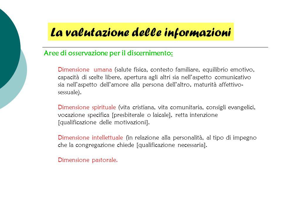 Aree di osservazione per il discernimento: Dimensione umana (salute fisica, contesto familiare, equilibrio emotivo, capacità di scelte libere, apertur