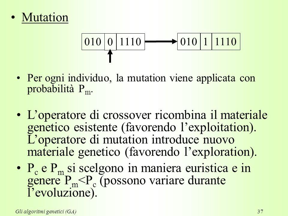37 Mutation Per ogni individuo, la mutation viene applicata con probabilità P m.
